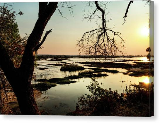 A River Sunset In Botswana Canvas Print