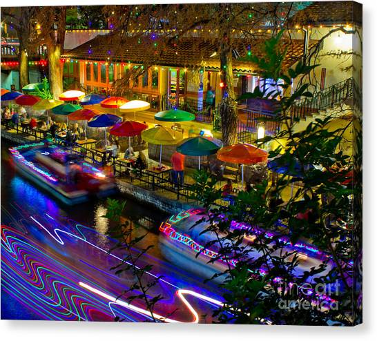 A San Antonio River Walk Christmas Canvas Print