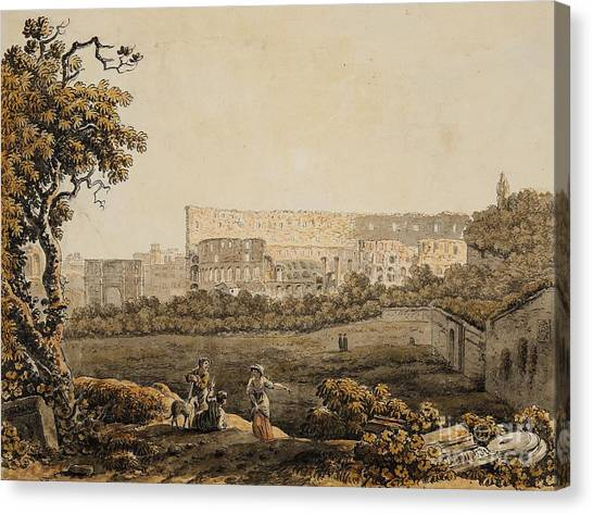The Colosseum Canvas Print - A Roman Landscape With The Colosseum And Figural Staffage by Celestial Images