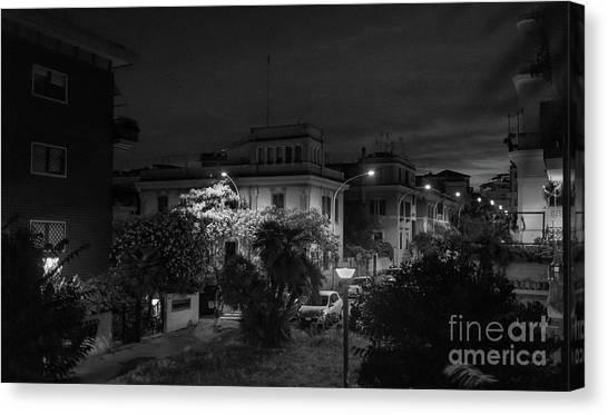 A Roman Street At Night Canvas Print