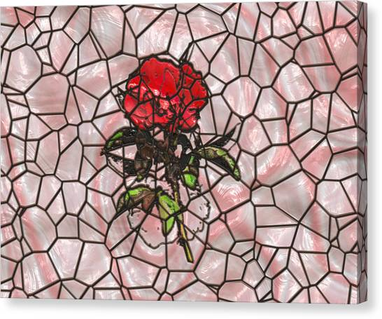 A Rose On Stained Glass Canvas Print