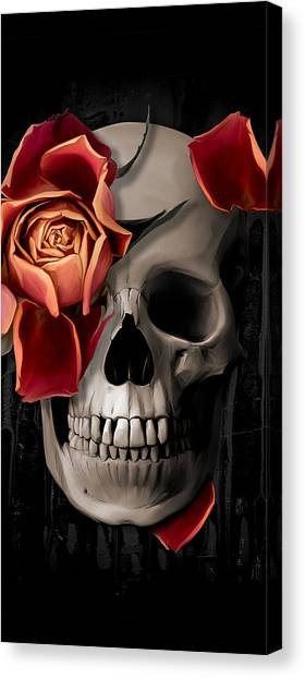 Bone Canvas Print - A Rose On The Skull by Canvas Cultures