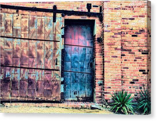 A Rusty Loading Dock Door Canvas Print