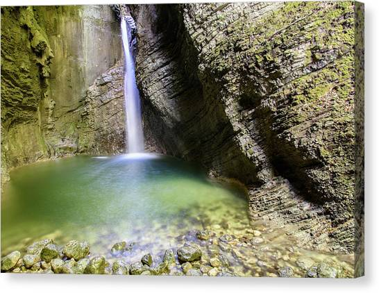 Mountain Caves Canvas Print - A Scenic Hike To Kozjak Waterfall by Nicola Simeoni