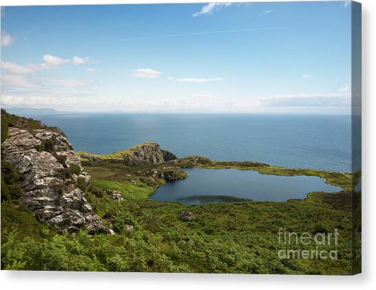 Horizon League Canvas Print - A Scenic Lake At The Slieve League Cliffs  by Andrew Michael