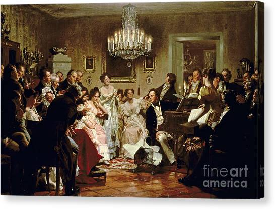 Black Tie Canvas Print - A Schubert Evening In A Vienna Salon by Julius Schmid