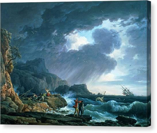 Wreckage Canvas Print - A Seastorm by Claude Joseph Vernet