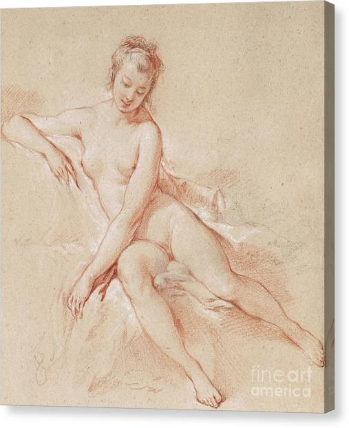 Boucher Canvas Print - A Seated Female Nude  by Francois Boucher