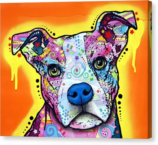 Pit Bull Canvas Print - A Serious Pit by Dean Russo Art