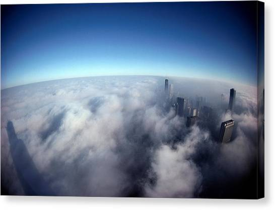 Chicago Skyline Canvas Print - A Shadow Of The Sears Tower Slants by Steve Raymer