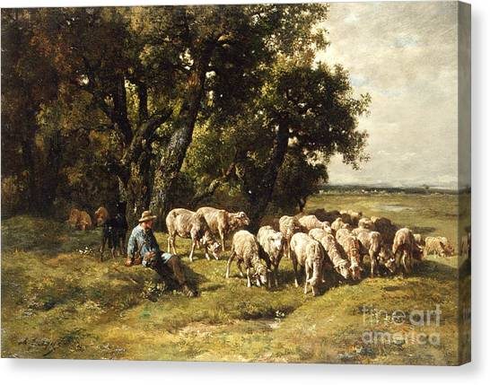Country Canvas Print - A Shepherd And His Flock by Charles Emile Jacques