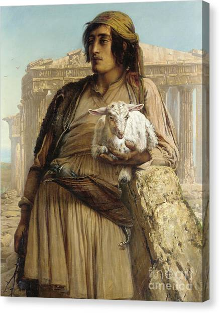 The Parthenon Canvas Print - A Shepherd Boy Standing Before The Parthenon by Elisabeth Maria Anna Jerichau Baumann
