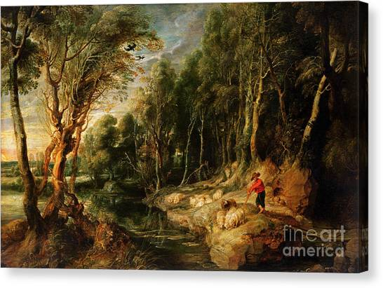 1615-22 Canvas Print - A Shepherd With His Flock In A Woody Landscape by Rubens