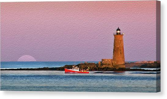 A Ship Passes The Super Moon And Whaleback Canvas Print