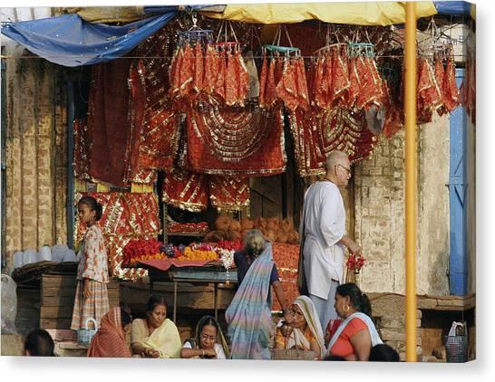 A Shop At The Ghat Canvas Print