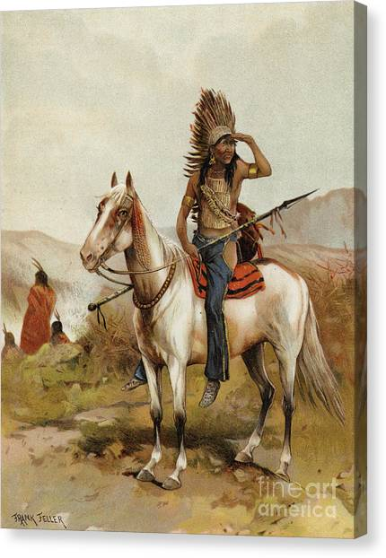 Scouting Canvas Print - A Sioux Indian Chief by Frank Feller