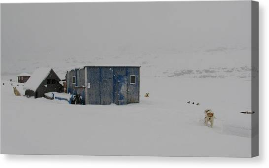 A Sledge Dog House Two Canvas Print by Sidsel Genee