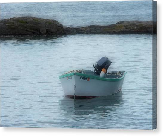 Canvas Print featuring the photograph A Small Boat In Casco Bay by Guy Whiteley