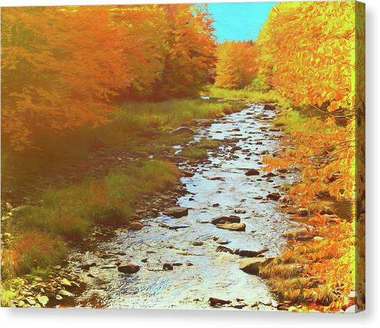 A Small Stream Bright Fall Color. Canvas Print