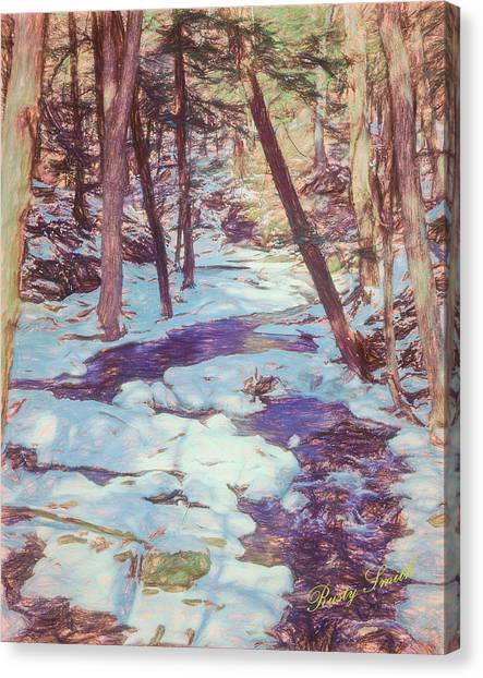 A Small Stream Meandering Through Winter Landscape. Canvas Print