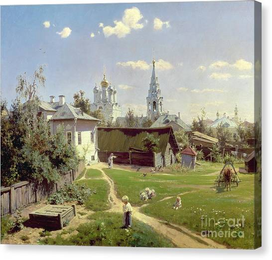 Moscow Canvas Print - A Small Yard In Moscow by Vasilij Dmitrievich Polenov