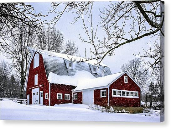 A Snowy Day At Grey Ledge Farm Canvas Print
