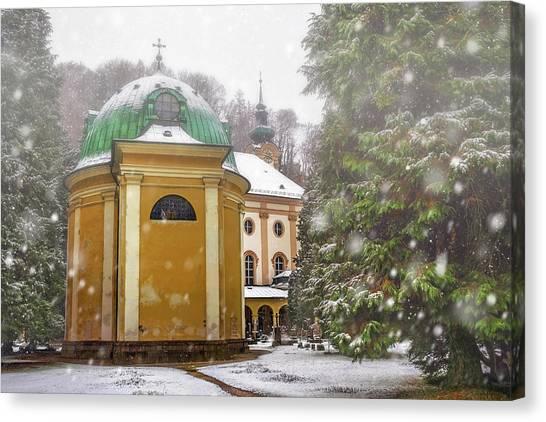 Mozart Canvas Print - A Snowy Day In Salzburg Austria  by Carol Japp