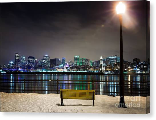 Quebec City Canvas Print - A Snowy Night In Montreal  by Jane Rix