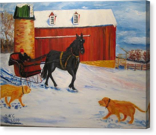 A Snowy Sleigh Ride Canvas Print by Gloria Condon