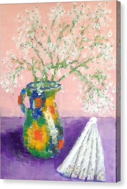 A Spanish Jar And A Fan Canvas Print