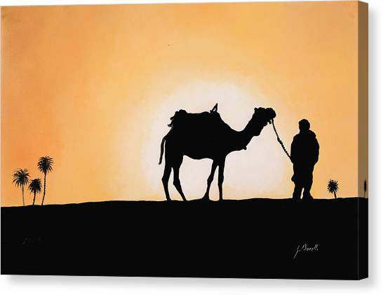 Camels Canvas Print - A Spasso Col Cammello by Guido Borelli