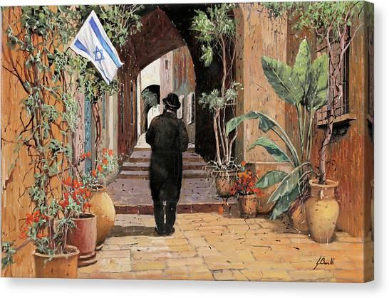 Israeli Canvas Print - a spasso per Jaffa by Guido Borelli