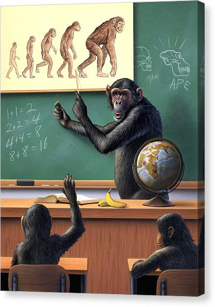 Primates Canvas Print - A Specious Origin by Jerry LoFaro