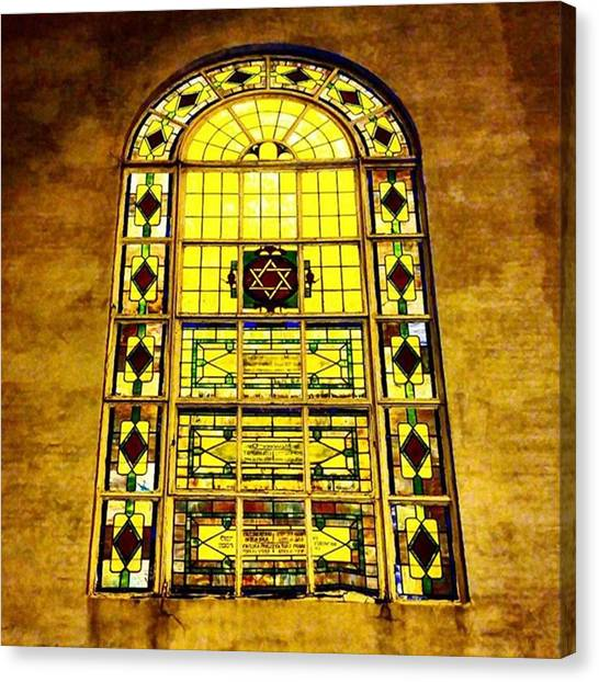 Judaism Canvas Print - A #stainedglass #window #temple by Matt Sweetwood