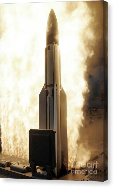 Warheads Canvas Print - A Standard Missile 3 Is Launched by Stocktrek Images
