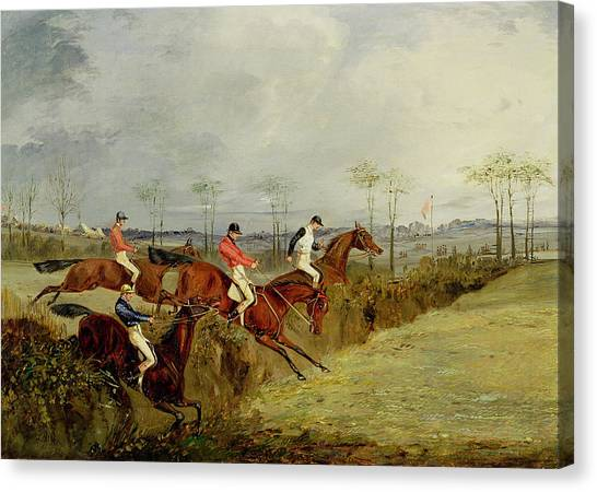 Ditch Canvas Print - A Steeplechase - Taking A Hedge And Ditch  by Henry Thomas Alken