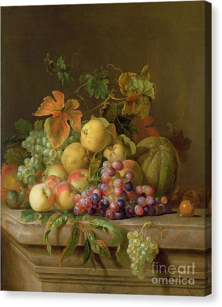 Melons Canvas Print - A Still Life Of Melons Grapes And Peaches On A Ledge by Jakob Bogdani