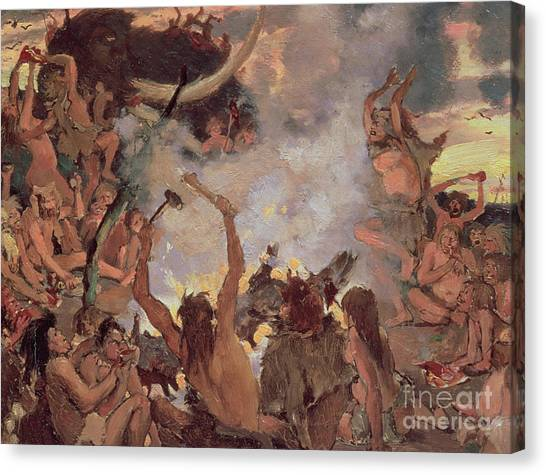 Mammoth Cave Canvas Print - A Stone Age Feast by Victor Mikhailovich Vasnetsov