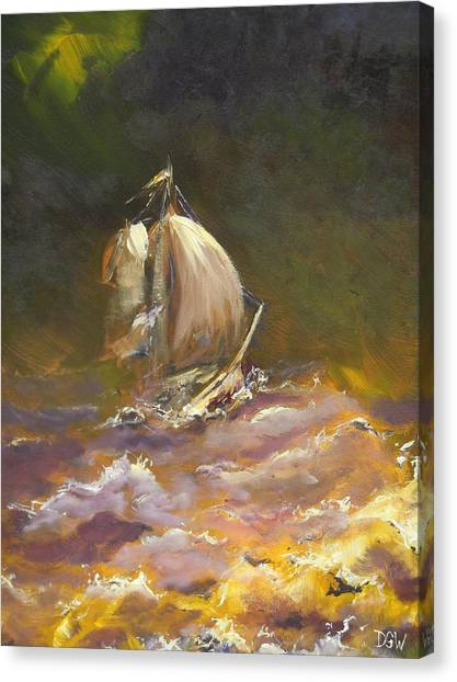 A Stormy Night At Sea Canvas Print