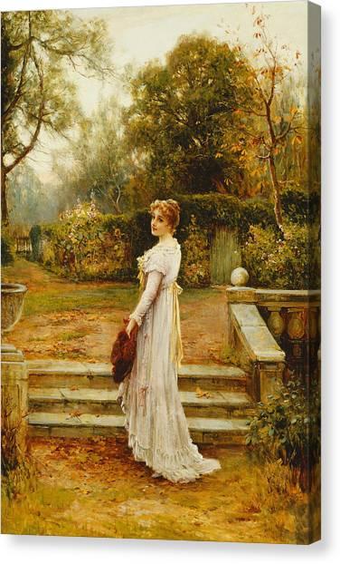 Victorian Garden Canvas Print - A Stroll In The Garden by Ernest Walbourn