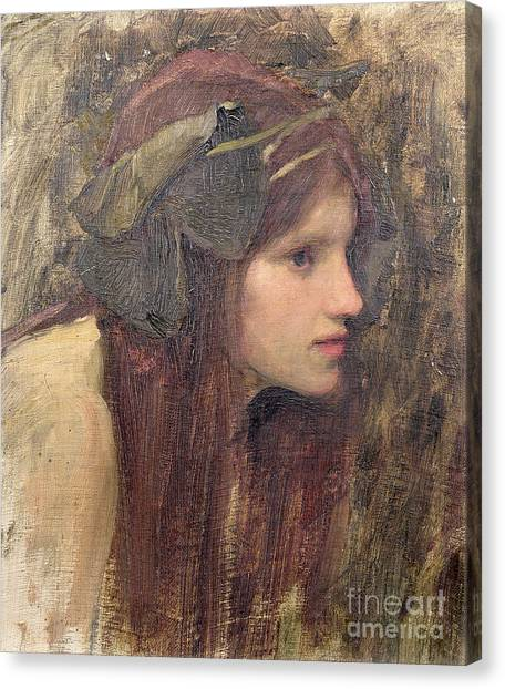 Portrait Canvas Print - A Study For A Naiad by John William Waterhouse