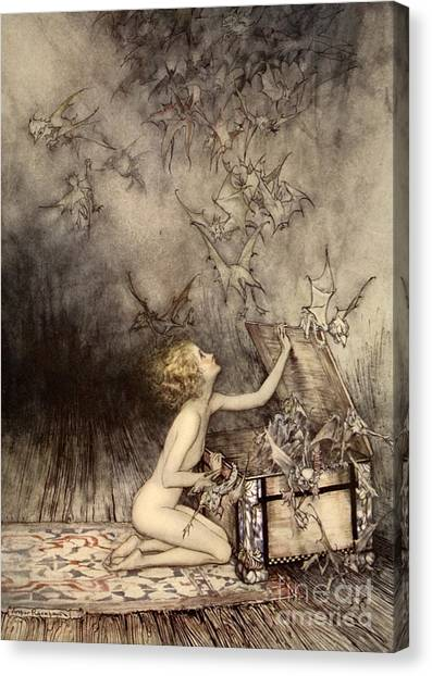 Fantasy Cave Canvas Print - A Sudden Swarm Of Winged Creatures Brushed Past Her by Arthur Rackham