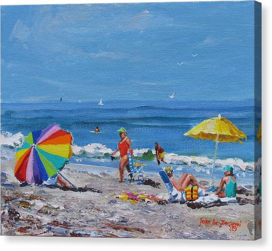 People On Beach Canvas Print - A Summer by Laura Lee Zanghetti