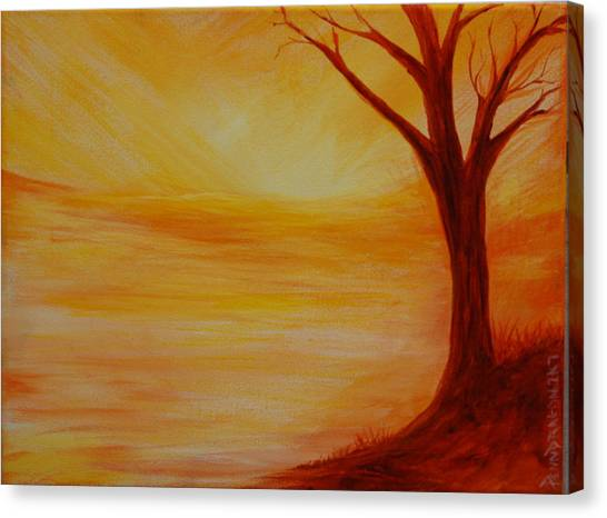 ...a Sun Sets Canvas Print by Amy Stewart Hale