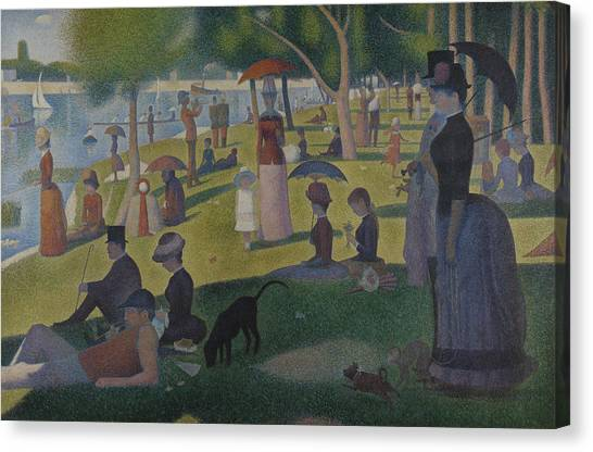 Post-impressionism Canvas Print - A Sunday Afternoon On The Island Of La Grande Jatte by Georges-Pierre Seurat