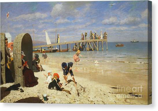 Sand Castles Canvas Print - A Sunny Day At The Beach by Wilhelm Simmler
