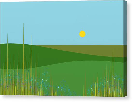 Rolling Hills Canvas Print - A Sunny Summer Day by Val Arie