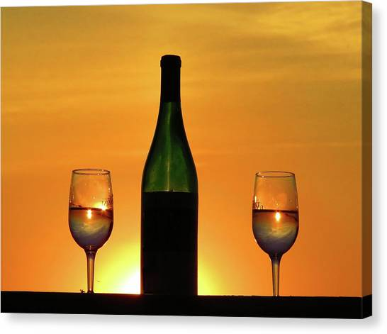 A Sunset In Each Glass Canvas Print