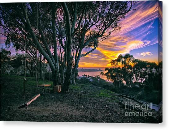A Swinging Sunset From The Secret Swings Of La Jolla Canvas Print