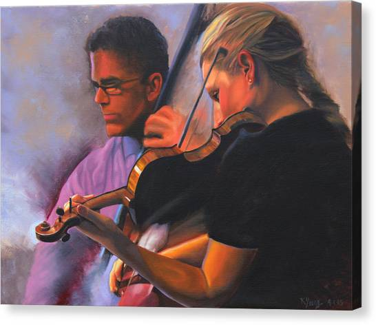 Violins Canvas Print - A Tale Of Two Musicians by Kenneth Young